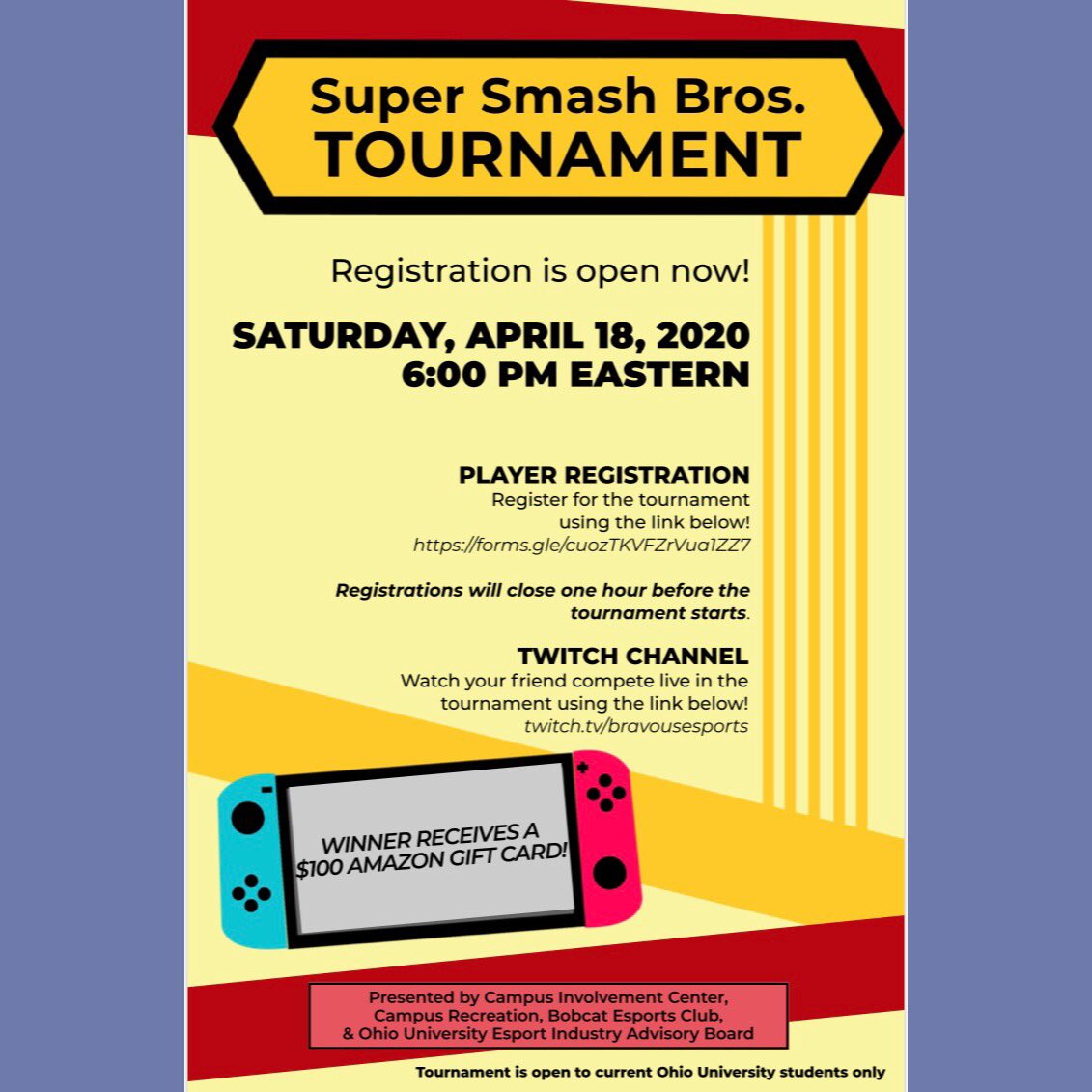 Today is the day! Win a $100 Amazon gift card! You can still sign up until 5pm (an hour before the tournament starts) at this link: https://t.co/SYfHsWLVy1  Want to watch your friends play, too? https://t.co/4tmkvDVB68 to watch! https://t.co/59GH98EG9E