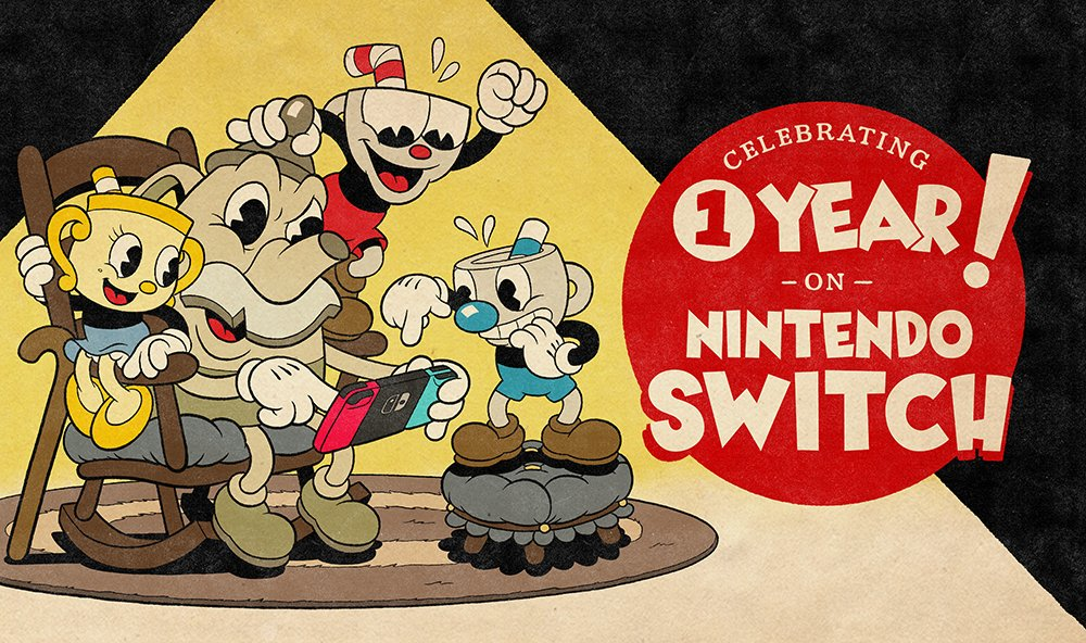 How time flies!! One year ago today, Cuphead officially released on Nintendo Switch. To all those who discovered our little animated adventure, or took another trip to the Inkwell Isles: our sincerest thanks.   To celebrate, the game is 25% off on the Nintendo eShop until 04/25. https://t.co/EIw72tgBkc