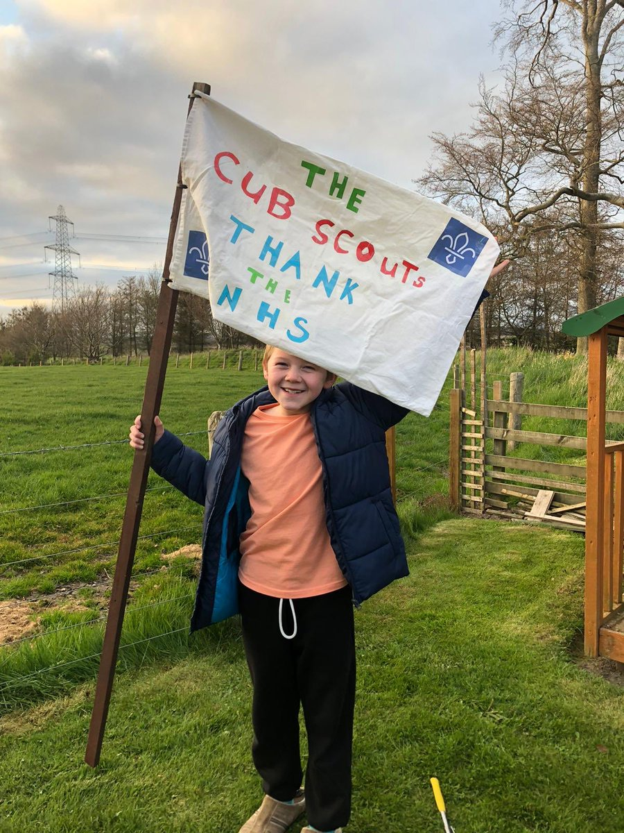 My nephew James and his home made Cub Scout flag thanking the NHS #cubscouts #NHSThankYou #Covid_19 @ChelwestFT