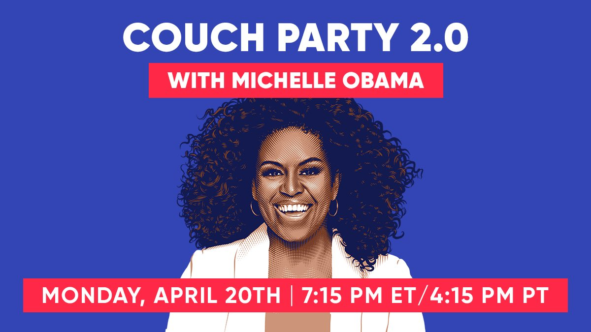 Looking for more to do at home? Me too. Help friends and family register to vote and join @WhenWeAllVote's #CouchParty 2.0 with me and @MichelleObama on April 20th at 7:15 PM ET. RSVP: https://t.co/QP12PaFCX9 ❤️ https://t.co/NFg26SnmFo