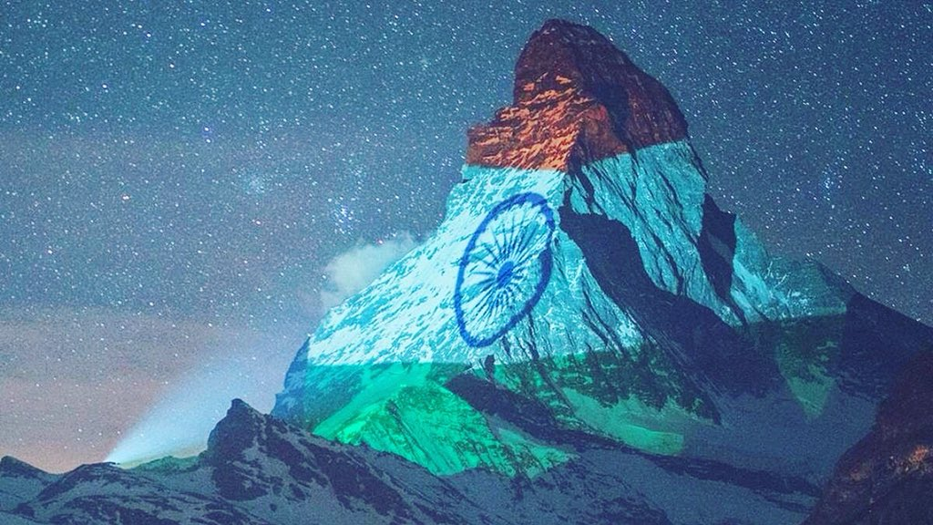 """Great initiative by #myswitzerland, The Indian flag on the #Matterhornmountain is intended to express solidarity and give hope and strength to our Indians,"""" #thanking #zermatt_tourism for the gesture.  #humanity #fightingagainstcovid19 #jaihind🇮🇳 .  📷 : #GabrielPerren"""