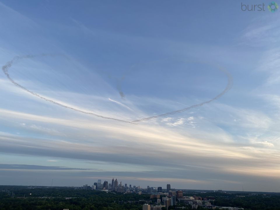 Skywriters paint hearts over Atlanta in support of healthcare workers: 2wsb.tv/2yt8g6p