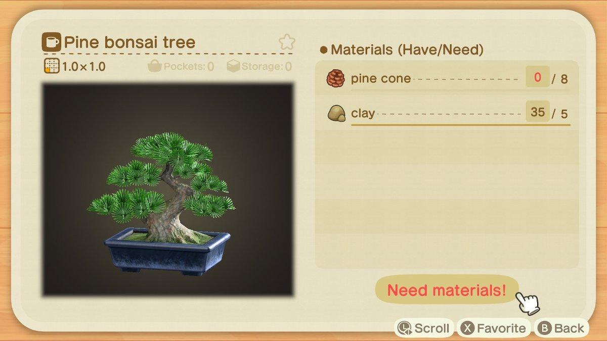 Beatrice On Twitter Omg I Found The Pine Bonsai Tree Diy 0 Animalcrossing Acnh Nintendoswitch