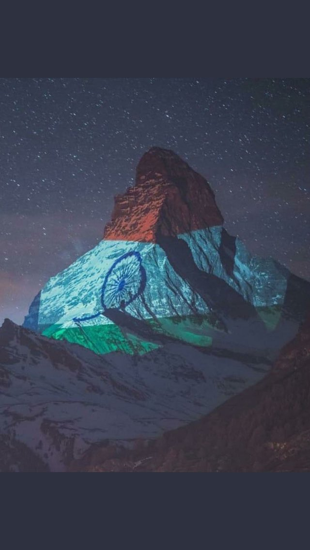 Switzerland's most famous mountain - the #ZermattMatterhorn lit up in the glorious Indian Tricolour. A message of solidarity and hope... A tribute to the indomitable human spirit ❤️🙏🏽 Light Art by #GerryHofstetter and 📸 #GabrielPerren  #inlovewithswitzerland @MySwitzerlandIN