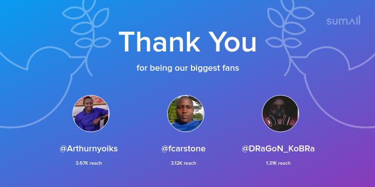 Our biggest fans this week: Arthurnyoiks, fcarstone, DRaGoN_KoBRa. Thank you! via https://t.co/7LdFeOBpP8 https://t.co/kwYSNUuXTh