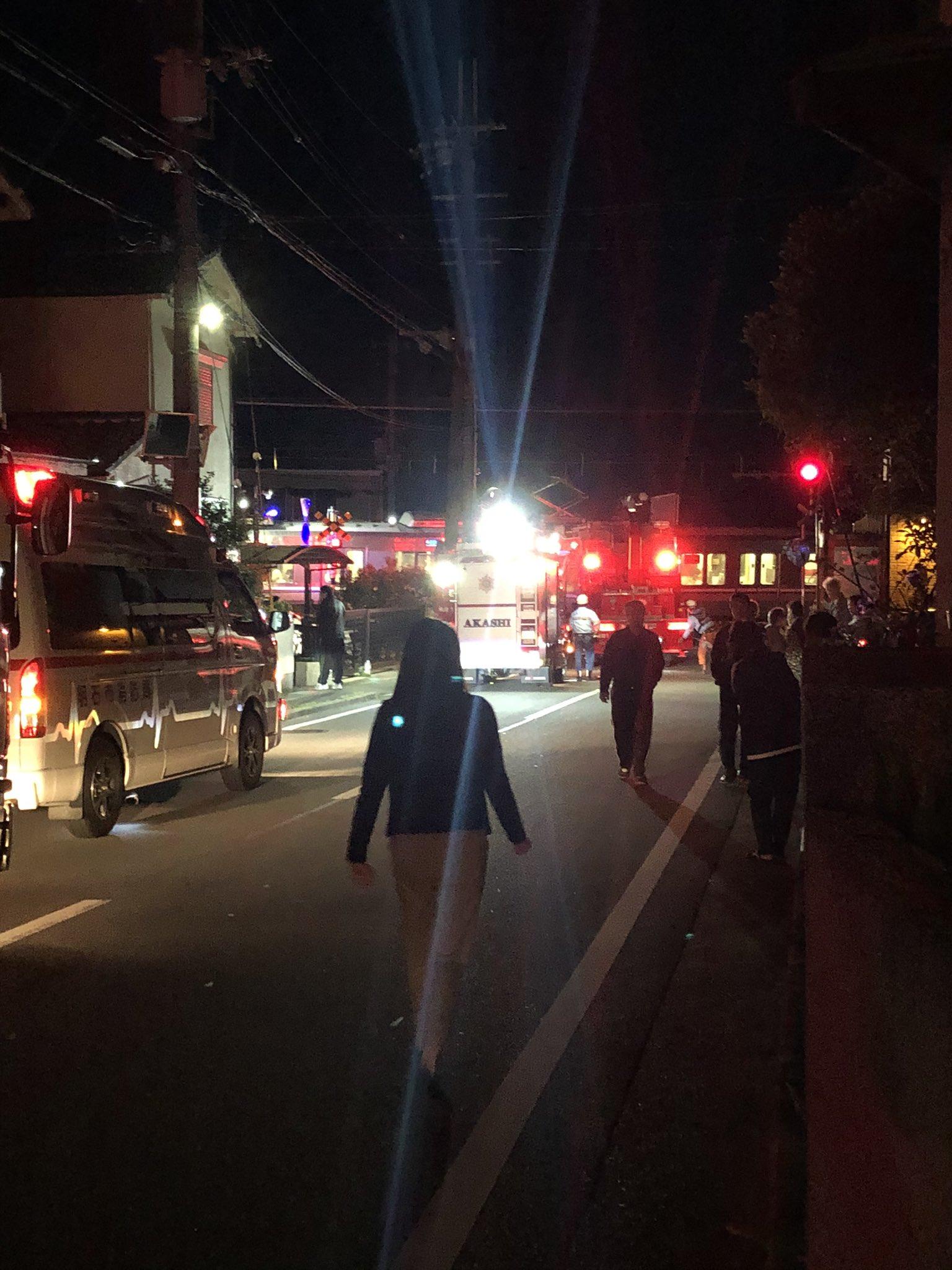 神戸線の土山駅~魚住駅間で人身事故が起きた現場の画像