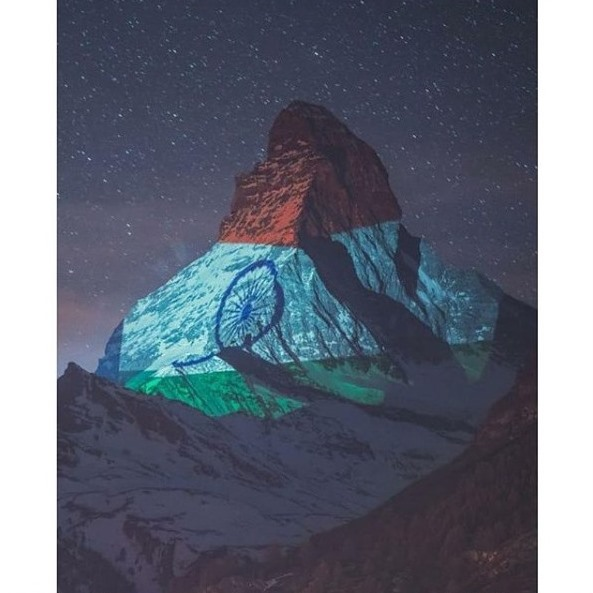 Switzerland's most famous mountain - the zermatt matterhorn lit up in the glorious Indian Tricolour. A message of solidarity and hope... A tribute to the indomitable human spirit ❤️🙏🏽🧿 Light Art by #GerryHofstetter and 📸 #GabrielPerren  #inlovewithswitzerland @MySwitzerlandIN