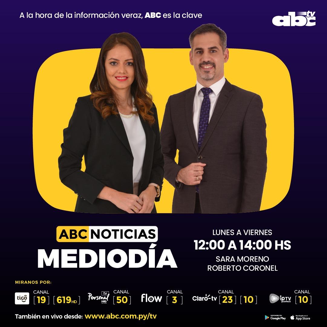 Abc Tv Paraguay On Twitter Al Aire Abcnoticiasmediodía Con La Conducción De Saramorenopy Y Darioibarra01 Tigo Star 19 Y 619 Hd Personal Tv Canal 50 Flow 3 Claro Canal 23 Y 10