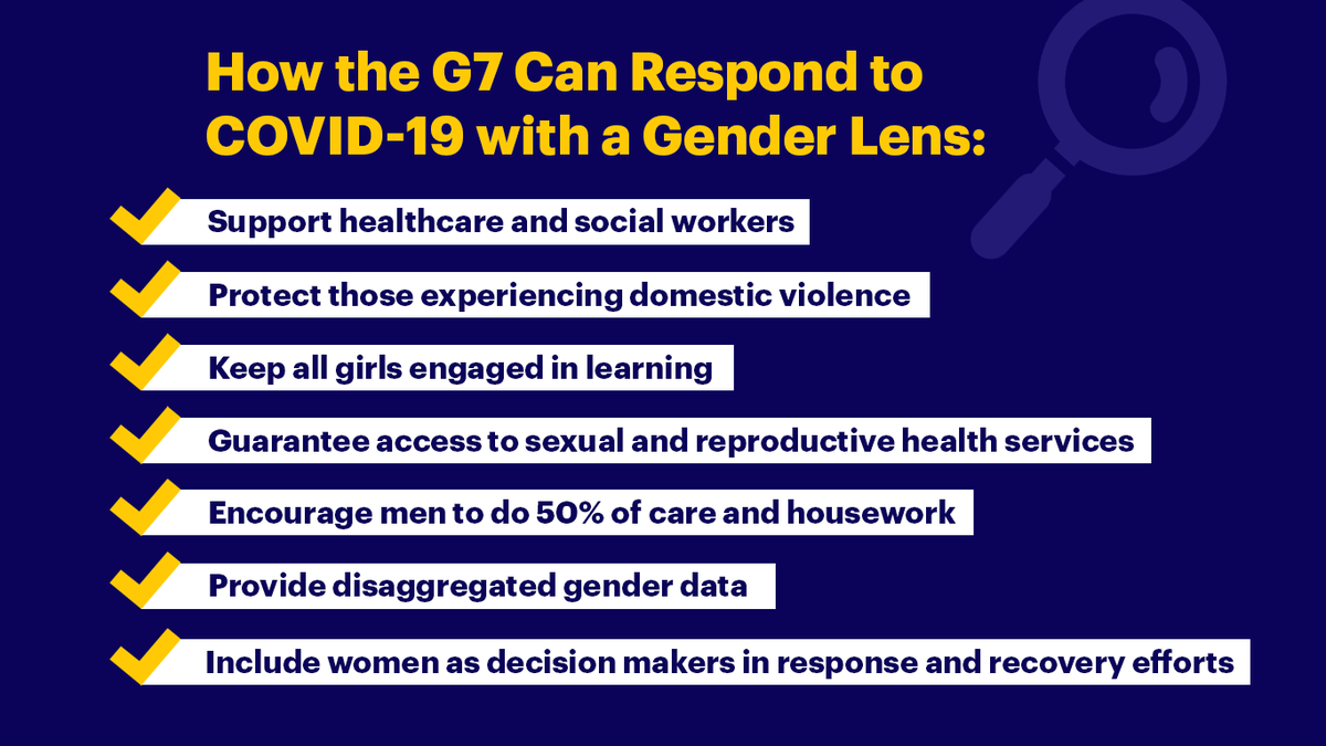 Members of the 2018 and 2019 G7 Gender Equality Advisory Councils are urgently calling on G7 member states to prevent the deterioration of gender equality and women's rights worldwide #COVID19 #canfem https://womendeliver.org/2020/step-it-up-g7/…pic.twitter.com/hghDvwOJfD