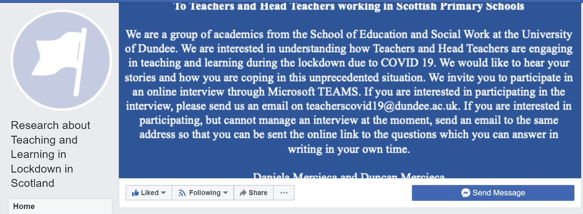 Are you a teacher teaching from home? Researchers @dundeeuni are keen to understand your experience. Please email teacherscovid19@dundee.ac.uk if you're willing to have a phonecall with one of the team. It would be great to collaborate with @southtyneside EdPsychs too! @UoD_ESW https://t.co/FsSaRXijFn