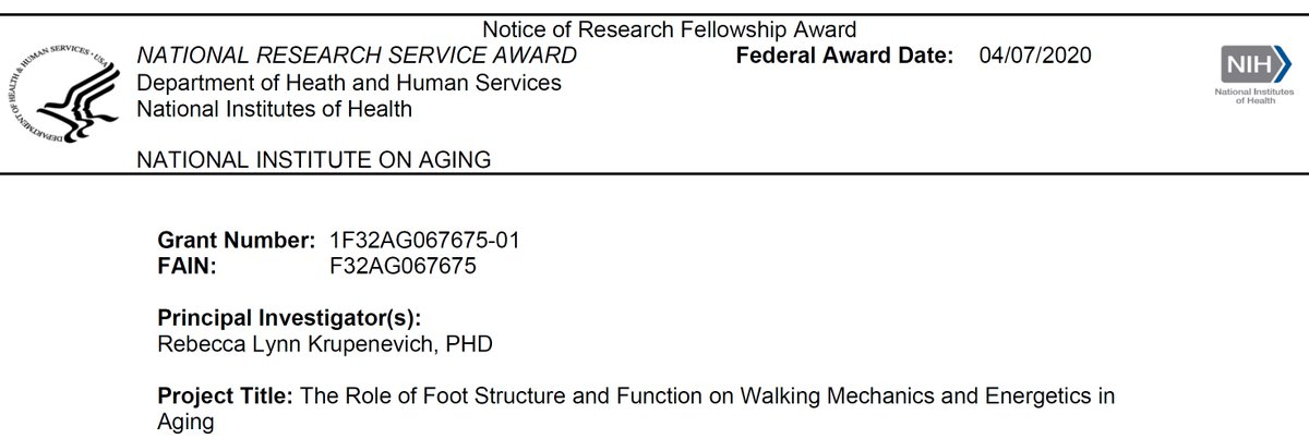 Congrats! 🥳👏🙌 BME postdoc Becky Krupenevich @Rlkrup awarded 3 year National Research Service Award from the National Institute on Aging. She's sponsored by Assist Prof Franz @FranzBiomech and Distinguished Prof Huang @helenhehuang8