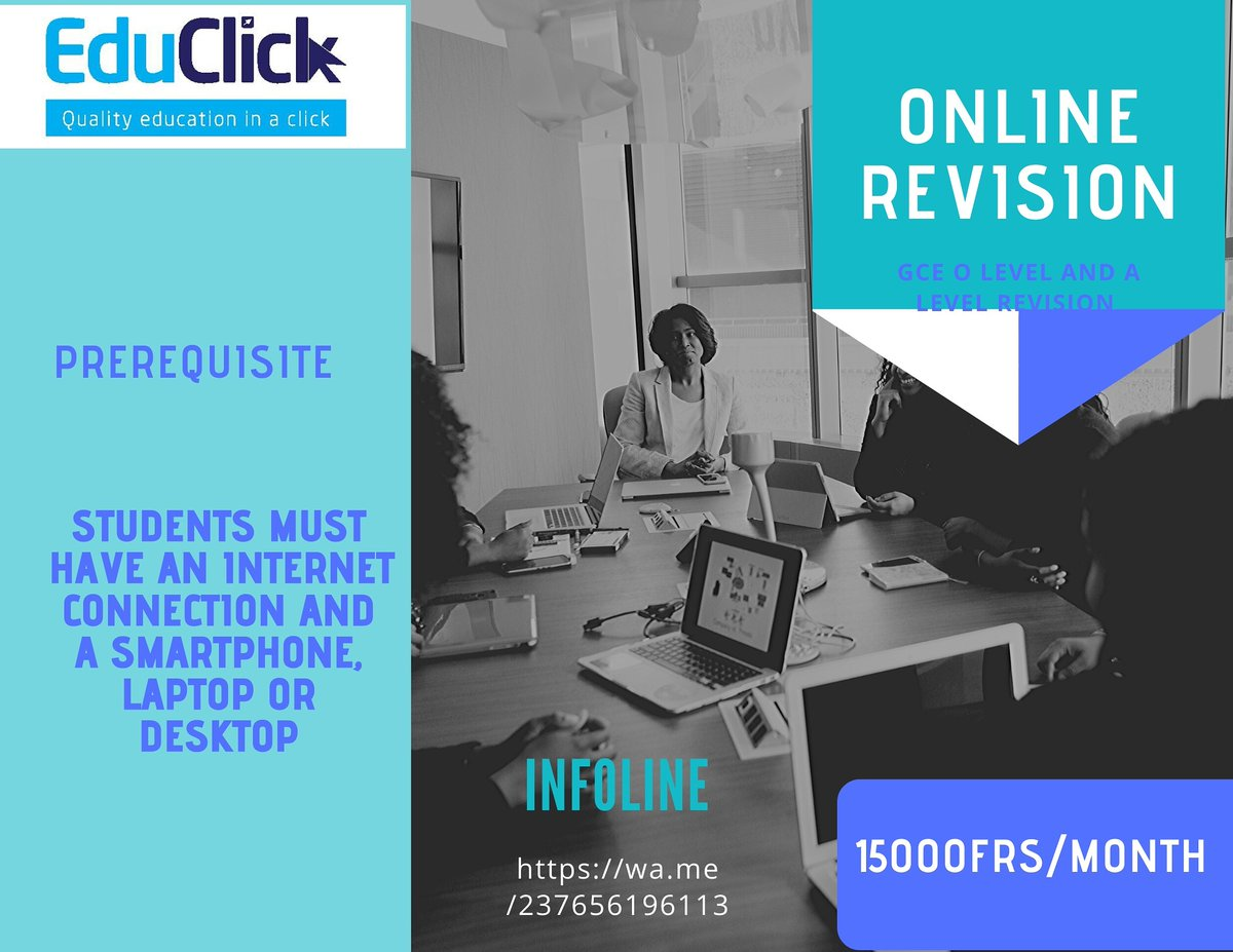 Access online revision through Google classrooms. Our group of teachers help students from Form 1 to Upper Sixth,  Arts and Science.p Let's discuss on WhatsApp: https://wa.me/237656196113  #secondaryschool #gce #olevel #Alevel #Cameroonschools #onlinelearning #Homeschooling2020pic.twitter.com/7SzLKMXO9H