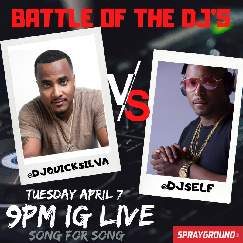 Tonignt is the night  grab your  and tune in 9p #ThePartyKingpin @DJQUICKSILVA vs #PrinceOfNy @djself Song for Song who can rock the party the best sponsored by @spraygroundpic.twitter.com/th8nG3wtWe