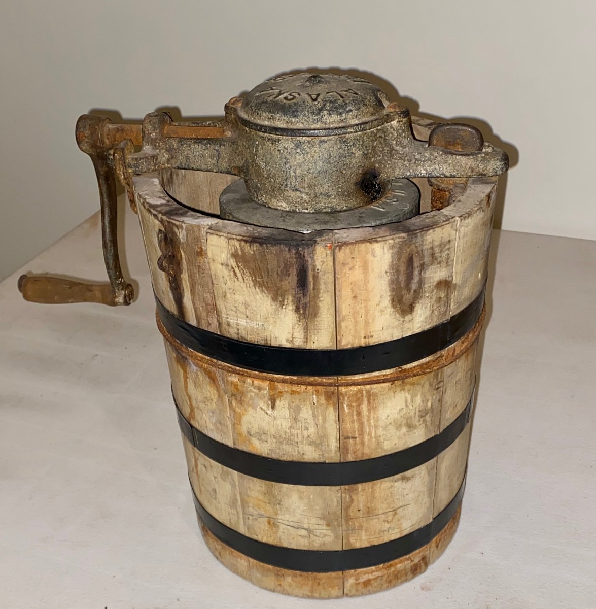 "Thanks to all who liked/commented on today's object of the week. It is an ice cream maker! This hand-crank wooden ""Alaska"" ice cream maker used ice, salt & an ice cream mixture to produce frozen treats. Check back next Tuesday for our next treasure. #Museums #History #icecream"