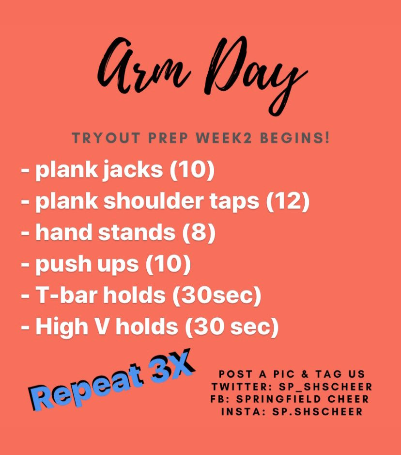 It's a rainy Tuesday! Here is a fun workout you can do indoors. Message us a selfie or quick video for a free gift delivered to your door! #buildstrongarms #cheerworkout #keepmovingforward pic.twitter.com/rkEcztSCRZ