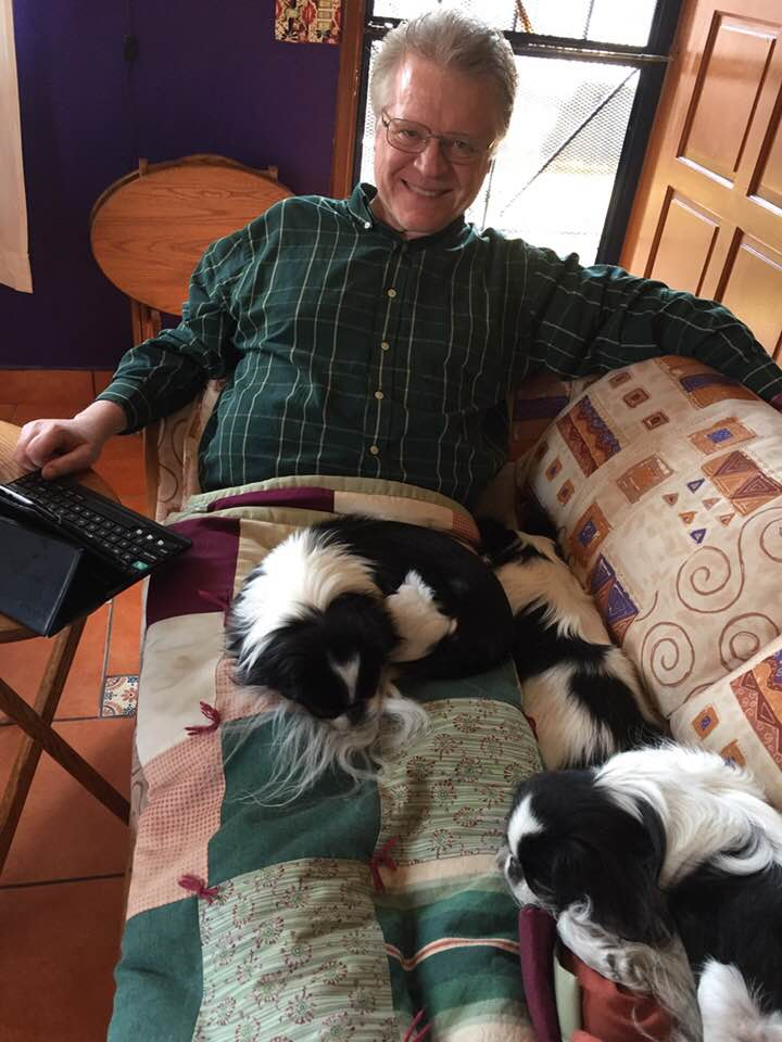 Daily devotions usually includes 2 or 3 doggies on my lap.  ~pic.twitter.com/DN0W5Jose7