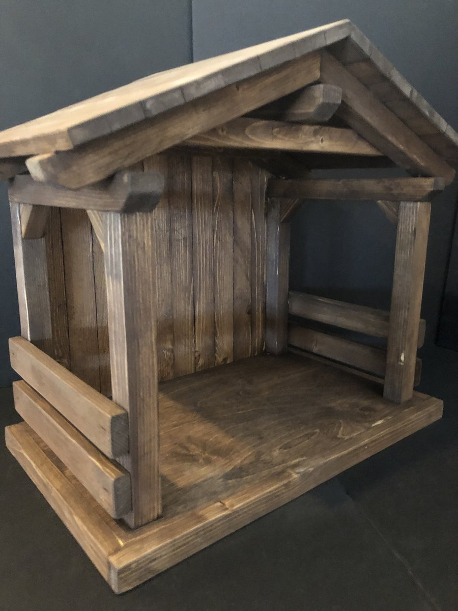 """New Mid size-tall 20""""wide x17""""tall x12""""deep, nativity stable /Creche Manger,  primitive,,horse, country, holiday decor, christmas mangers http://tuppu.net/5bcfc272 #Etsy #JacobsWoodDesigns #PrimitiveStablespic.twitter.com/dNCj843eFE"""