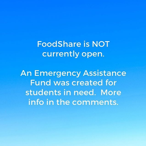 FYI, from @TU_Foodshare's Instagram. Link to the Student Emergency Fund: towson.edu/studentaffairs…