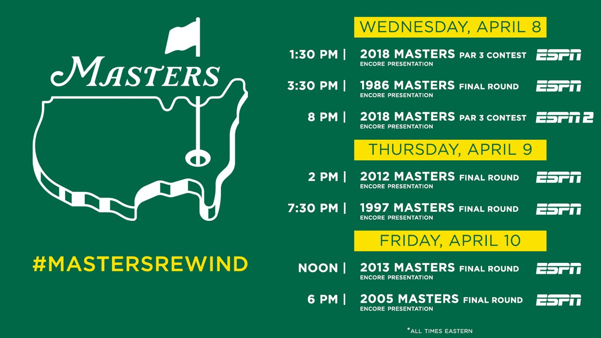 Relive memorable @TheMasters moments with the #MastersRewind featuring @TigerWoods, @jacknicklaus & @bubbawatson. Starts tomorrow on @espn