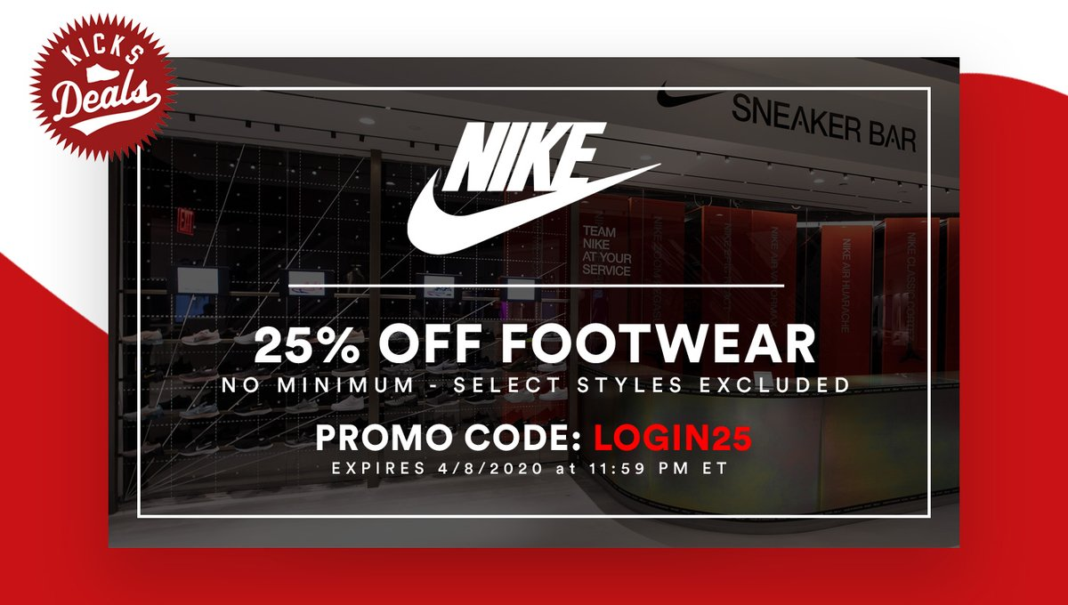 ✔️ 25% OFF footwear SITEWIDE at @nikestore is only active thru April 8th. SALE styles included! FREE shipping with Nike+. Men -> bit.ly/34b2x12 Women -> bit.ly/39Q8bah Kids -> bit.ly/2RafP8U 🚨👀 Use #promotion code LOGIN25 at checkout.