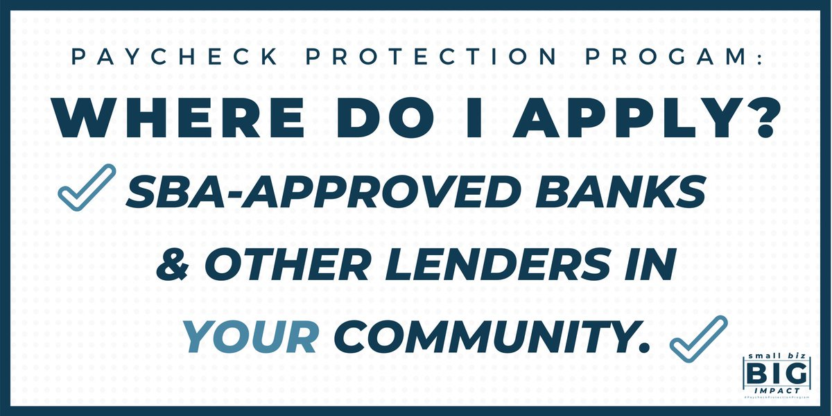 You can apply for a #PaycheckProtectionProgram loan for your small business at your local SBA-approved bank.   For more information and the latest guidance on approved lenders, visit .