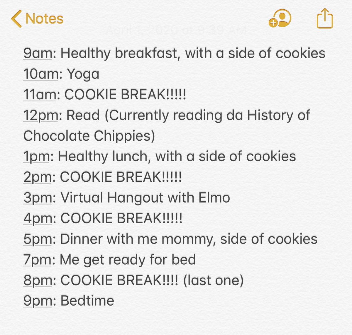 Me new daily schedule: