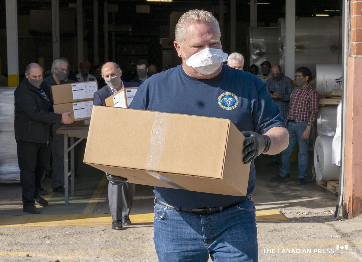 Ontario Premier @fordnation loads ASTM Level 3 masks manufactured and  donated by The Woodbridge Group. https://t.co/7ulghNoTK7