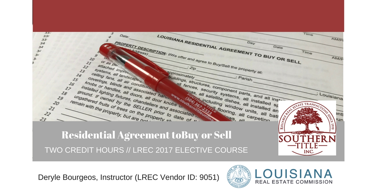 Residential Agreement to Purchase or Sell CE class Thurs, April 16th 9:30am to 11:30am @ Delisha Boyd, LLC #SouthernTitleLA #STCEClass #DelishaBoydLLC #LREC #louisiana #credithours #realestate #realestateagents #nola #continuingeducation  #titlecompany https://www.southerntitleonline.com/shop/classes/residential-agreement-buy-sell-class/ …pic.twitter.com/rdU0YUcras