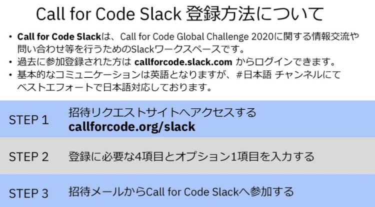 🔷Call for Code Slack登録方法のご案内Call for Codeに関する最新情報や問い合わせはSlackをご利用ください。#CallforCode #Slack