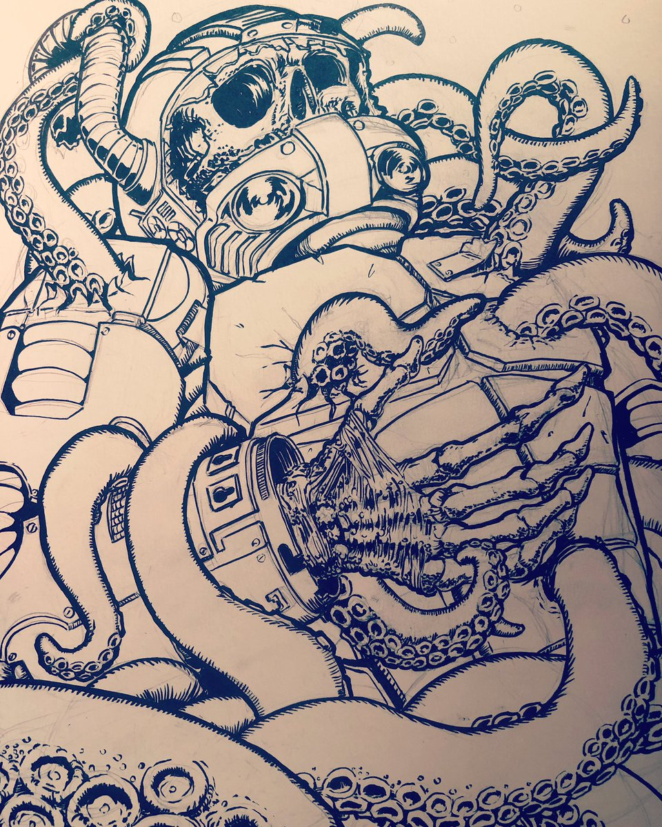 Some more progress on this piece #wip #tentacles #darkart #illustration #yegartist #freelanceartist #freelanceillustrator #openforbusiness #darkartist #astronaut #tentacles #ink #scifiartpic.twitter.com/OlQbxg3YcA