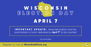 I don't live in Wisconsin, but I'm a fan of Democracy. Get those ballots Postmarked by HOLY COW! TODAY!!! Hanx...
