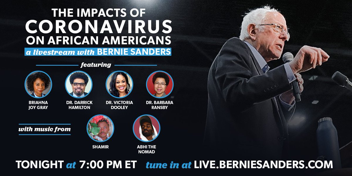 Tonight, tune in to live.berniesanders.com at 7 p.m. ET for a livestream on the disproportionate impact of coronavirus on the African American community and the systemic racism in our health care system.