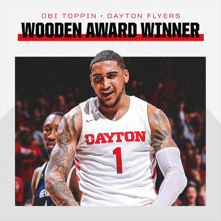 There's no Toppin this high-flyer! Dayton's Obi Toppin is the 2020 Wooden Award winner. ( 📍 @Wendys)