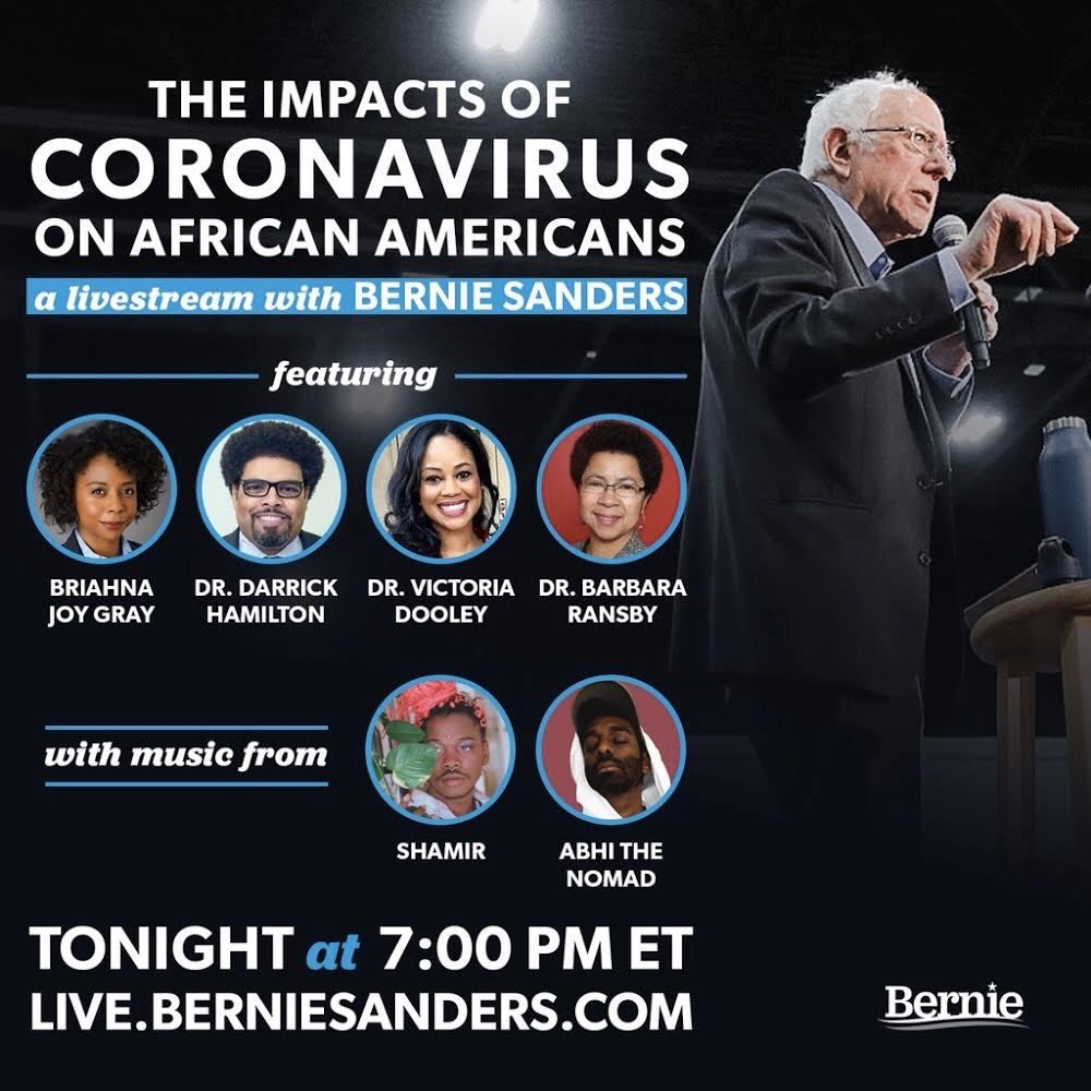 The myth that #COVID19 is an equal opportunity killer must be dispelled. It is unacceptable that Black America is getting sick and dying at much higher rates. Join us at 7:00PM to discuss ways we can overcome these economic and health disparities: live.berniesanders.com