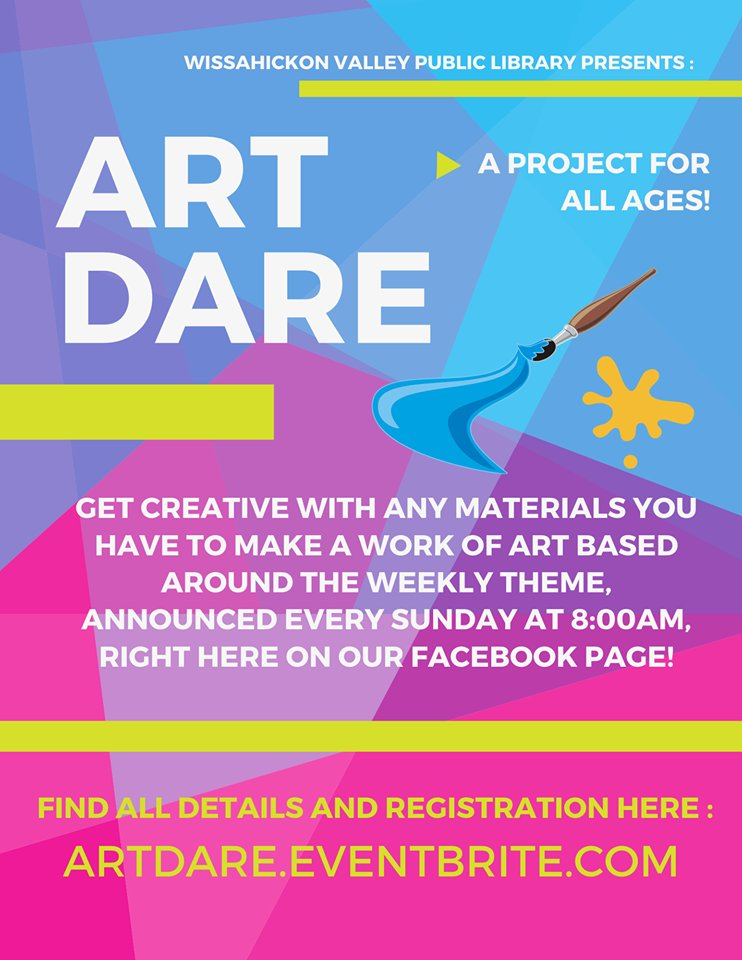 Calling all artists! Artists of all ages!  We are proud to announce a new interactive project with WVPL called ART DARE! Each week will be a new theme to inspire your creativity. We can't wait to see your artwork! For details on how to join, click here: http://artdare.eventbrite.compic.twitter.com/UaPZI5r08l