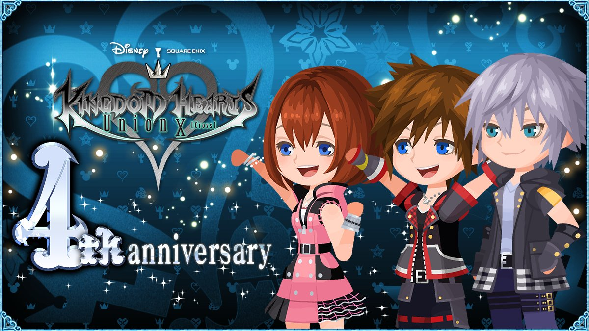 🎉 Happy 4th Anniversary, Keyblade wielders! 🎉  Thank you all so much for playing and supporting KINGDOM HEARTS Union χ[Cross] throughout the years!   Don't forget to log in to receive your 10,000 Jewel gift! 💎  We can't wait to see what the future of #KHUX will be! https://t.co/Bi8bwE8JUt