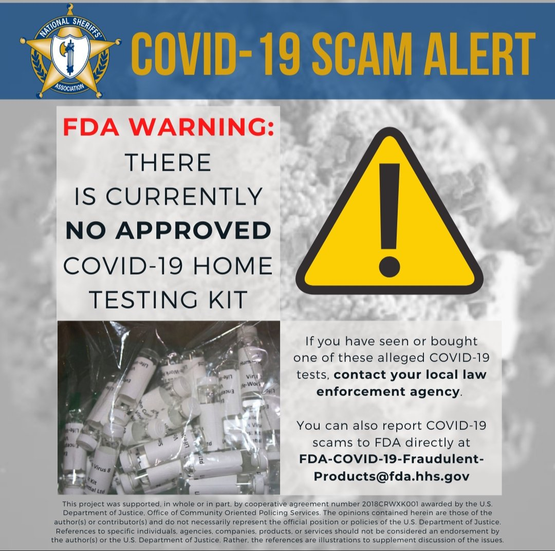 From our friends @NationalSheriff don't be a victim of #COVID19 scams.