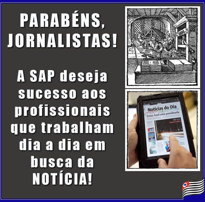 👏🏻🗞🗒Neste 7 de abril, nós, da Administração Penitenciária 🚨, desejamos sucesso e manifestamos nosso respeito aos profissionais de imprensa. #diadojornalista💻 #sapsp #sapnews #imprensa #parabens #jornalismo #telejornalismo #jornal #profissoes