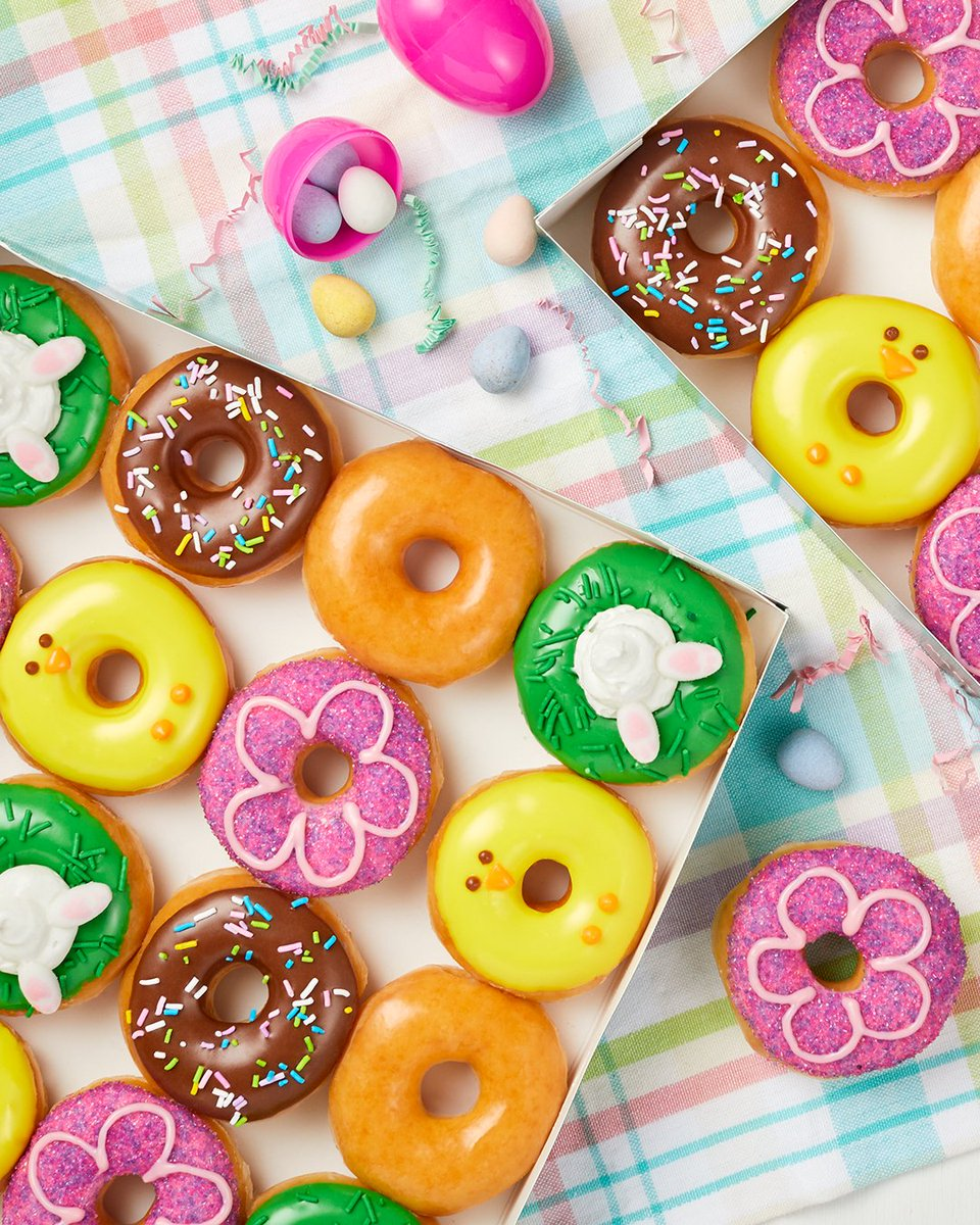 Need a way to brighten your day? 🌸 Well, we're here to deliver... literally. 😉 Our mini #Spring 🍩s are here for you! Participating US & CAN shops only, available through #drivethru, #pickup & #delivery. Info here . #KrispyKreme #Doughnuts