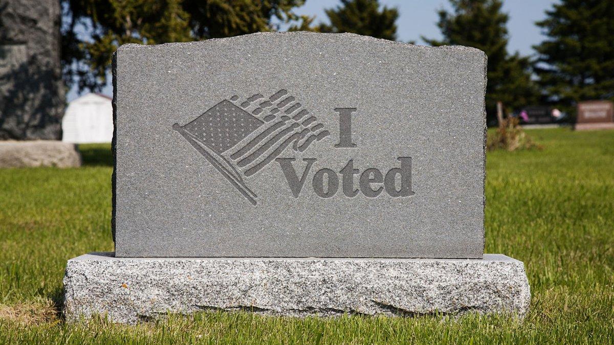 Replying to @TheOnion: Wisconsin Primary Voters Receive 'I Voted' Gravestones