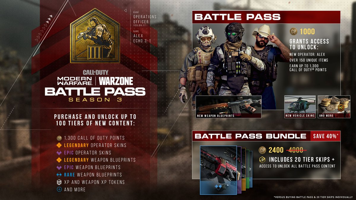 Call Of Duty News On Twitter Modernwarfare Warzone Season 3 Battle Pass Overview New Operator Alex Vehicle Skins New Weapons Free Tiers New Customization Items And More
