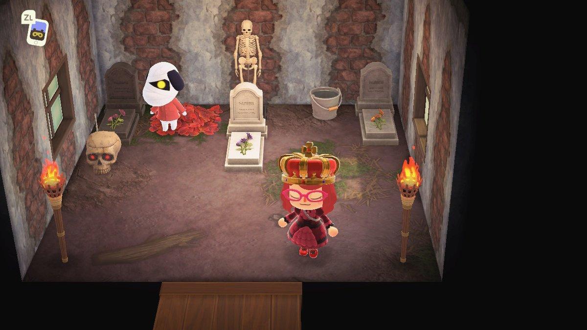 ポケ森で可愛かったからスカウトしたら、とんでもないご趣味の犬だった。部屋にお墓2つて。。 #どうぶつの森 #AnimalCrossing #ACNH #NintendoSwitch