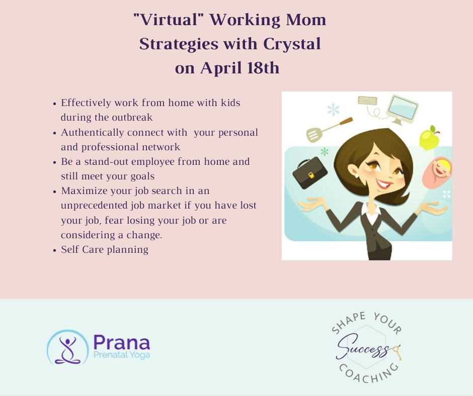 I am excited that I have teamed up again with Prana Prenatal Yoga to offer Virtual Working Mom Strategies on April 18th at 1:00 est.  #careercoaching #workingfromhome #workingmomlife #selfcarematters  Learn More Here: https://www.pranaprenatalyoga.com/events.htmlpic.twitter.com/Aydj19QKHz