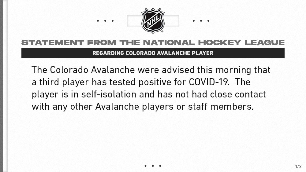 Statement from the @NHL regarding @Avalanche player.