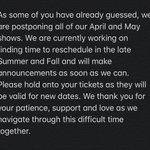Image for the Tweet beginning: Tour update