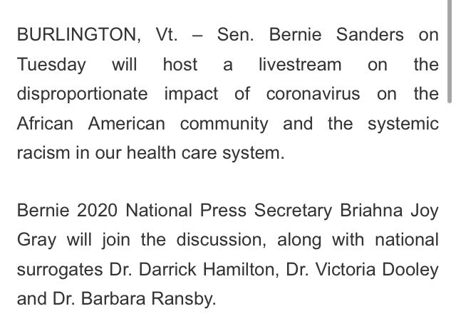 Bernie Sanders is hosting another coronavirus livestream tonight at 7, this time on its impact on black Americans.