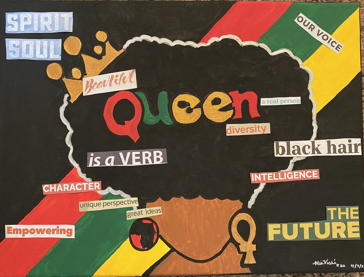 """I finally finished my art piece """"Queen""""mixed media piece. I started this piece one night when I did a paint and sip in my home. Let me know what you think??? For we are everything. #AfricanAmericanFemaleArtist #abstractArt #inspire #blackArt #IamMiaVashe artist #supportpic.twitter.com/EAAGNXhyxK"""