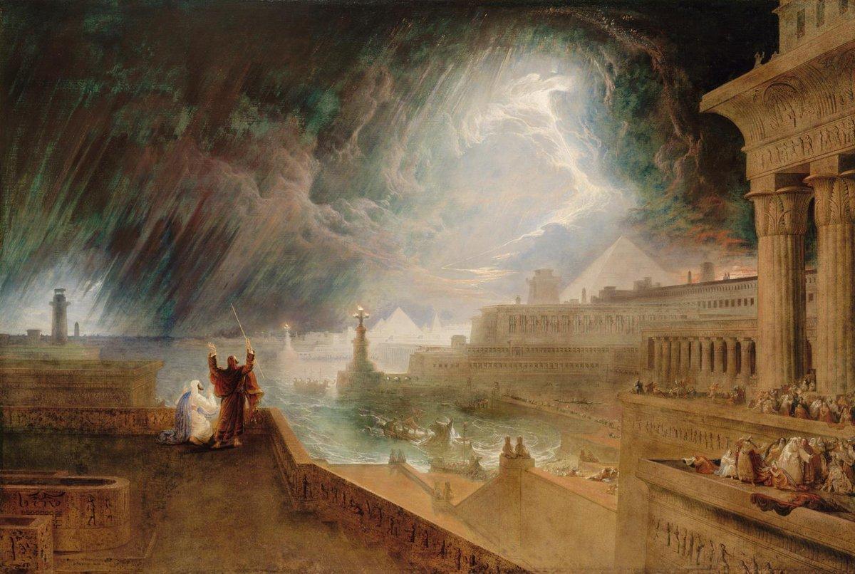The Seventh Plague (1823) by John Martin (England, 1789–1854). Plague of hail and fire. Exodus 9:13-35. Museum of Fine Arts.pic.twitter.com/ZjV2N46VTN