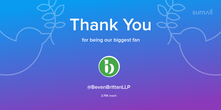 Our biggest fans this week: BevanBrittanLLP. Thank you! via https://t.co/31nO92kIV9 https://t.co/NRvmQTsVg7