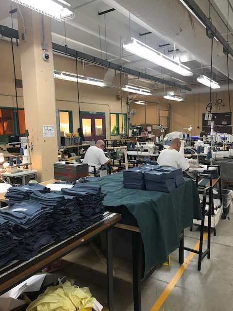 The awesome CCi team at the Limon Correctional Facility has been busy sewing cloth masks for our facilities. They are working to help keep our prisons free from COVID-19, and we appreciate all they are doing. #StaySafeCO #COVID19Colorado https://t.co/S8cTlgvF29